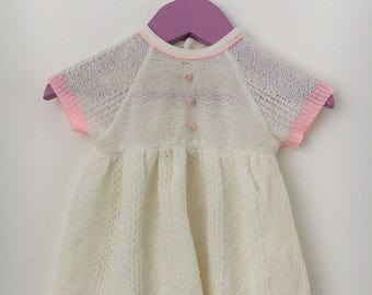 Vintage off white knitted dress with pink accents