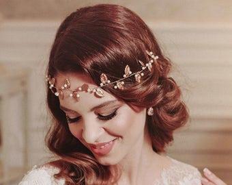 Grecian leaf headband, bohemian headband, bridal hair vine, leaves headpiece , leaf halo