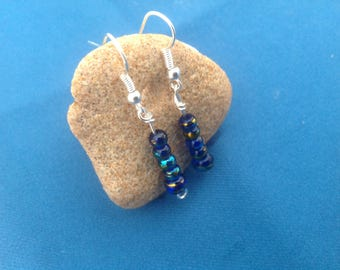 Blue lagoon bead earrings