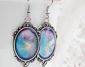 Resin earrings Summer jewelry Summer earrings Resin jewelry Seabed earrings Marine earrings  Starfish earrings Turquoise jewelry