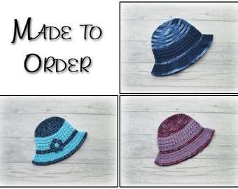 Kids sunhat, custom made child sun hat, handmade sunhat, crocheted sunhat, summer hat, cotton hat, girls sun hat, boys sun hat, Fruit Punch