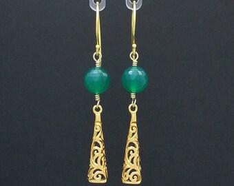 Long green agate & vermeil filigree earrings