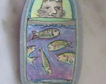 Vintage Cat & Pail of Fish Pin or Brooch - Original Artwork