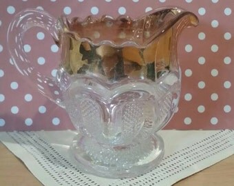Antique 1900 EAPG US Glass Texas Pattern Loops with Stippled Panels Creamer Gold Flash Rim