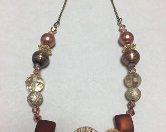 Copper and gold beaded chunky necklace