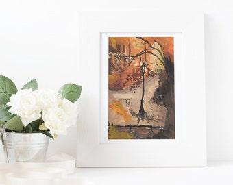 Lamp Post Gouache Print 4x6