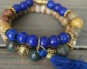 Blue Beaded Bracelet Black Stone Bracelet Tassel Gold Accents Custom Stretch Bracelet