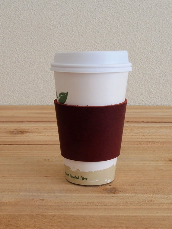 Leather Coffee Cup Sleeve / Insulator, Burgundy Oil Tan Leather -  Ready To Ship
