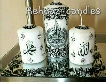 Islamic wedding candle set with matching thaal/Wedding/Mehndi decor/ wedding candles-Can be designed in any colour