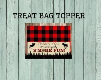 Lumberjack S'more Treat Bag Topper-Moose *****INSTANT DOWNLOAD**** (Lumber-MooseBagTopper)