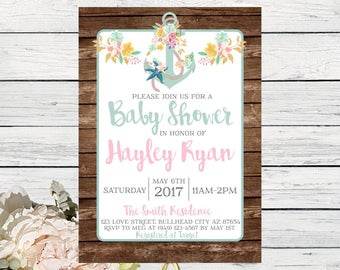 Nautical Anchor Baby Shower Invite Wooden Background***Digital File***  (Baby-anchor)