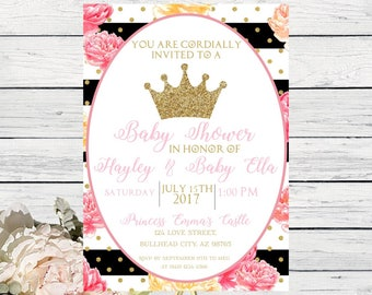 Princess Baby Shower Invite Pink and Gold confetti peony***Digital File*** DIY Print (Baby-PrincesFloralBW)