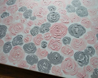 Pink Roses, Pink and Grey, Wall Art, Canvas, Acrylic Painting, Nursery Art, Baby Girl