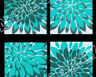 """Turquoise Teal Gray Starbursts Flowers Galore 5""""x7"""" Prints - ON SALE!!!"""