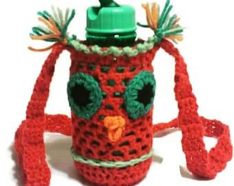 Crochet Bottle Case, New Mom Gift, Baby Bottle Carrier, Water Bottle Sleeve, Bottle Cover, Drink Holder, Crochet Owl Lover