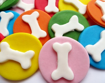 12 Paw Dog Cupcake Plaques Edible Sugar Cake Topper Decorations