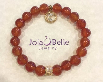 Genuine Carnelian stretch bracelet with gold plated details