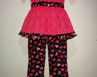 Baby Infant Toddler Girls Heart Valentines Valentine's Day Boutique Peasant Shirt and Pants Outfit! 12 18 2 3 4 5 6 7 8 10 12