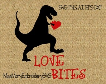 SVG Love Bites T-Rex File Cutting File DXF, AI Commercial Personal Use