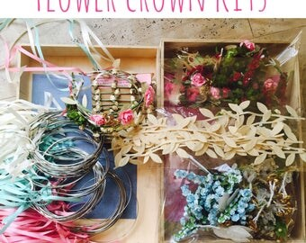 20 Flower Crown kit Coachella shower diy wreath Flower Crown kit diy headband kit Party favor bachelorette party tiara princess party girls