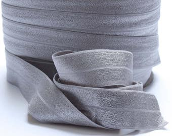 5 Yards of FOE - Silver Fold Over Elastic, FOE, 1 Inch, Shiny Elastic for sewing hair bands, headbands etc. Diaper Cover Elastic 1561