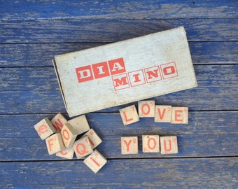 Old 1950s Diamino French letter game, wooden letters, craft materials