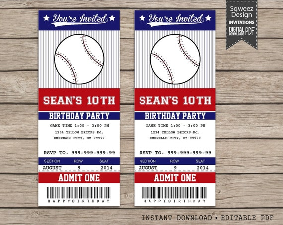 Baseball invitations baseball ticket invitations sport for Sports ticket template free download