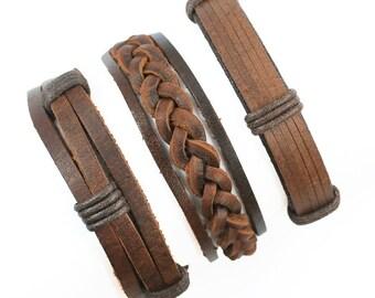 Mens Bracelet Men's Leather Bracelet Gifts Under 20 Boyfriend Gift Mens Gift For Dad Husband Gift Men's Anniversary Gift for Him 3P-16