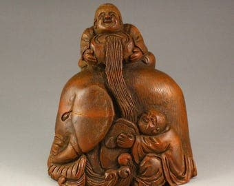 N2987 Chinese Bamboo Root Statue - Elephant & Fortune Kid