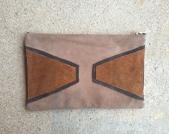 Taupe Midtown Suede Pouch