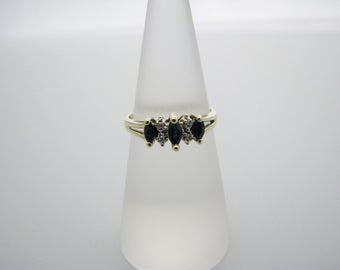 Marvelous 10k Yellow Gold Ring with 3 Marquise Sapphires & 4 Small Diamonds