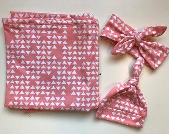 Newborn Baby Jersey Knit Swaddle Blanket Hat Headband Tie Soft Pink Triangles