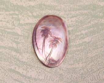 Vintage oval abalone palm tree brooch pin