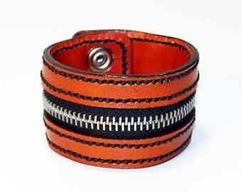 Orange Zipper Bracelet. Handmade Bracelet. Orange Cuff. Zipper Cuff. Orange Zipper.Handmade Accessories.