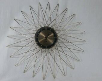 Vintage starburst mid century modern brass welby wall clock sunburst