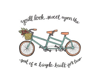 Bicycle Built for Two {Pen & ink quote} [Wall art]