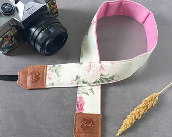DSLR camera strap,White  flower Camera Strap, leather camera Strap Gift for her