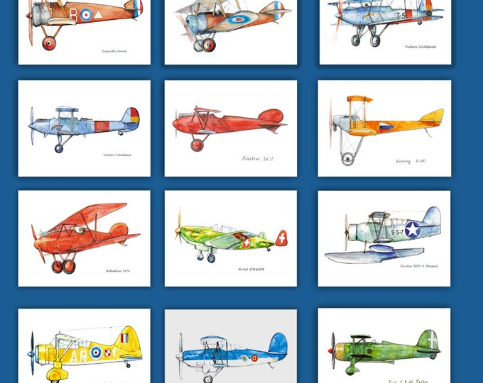 Airplanes decor Set of 12 prints Military aircraft Make your own set Airplane painting Aviation art Retro avia Boy's nursery wall art