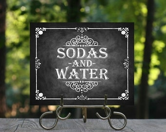 Printable Chalkboard Wedding Beverage Sign, Wedding Bar, Sodas and Water, Wedding Sign, Rustic Wedding Sign, Chalkboard Sign, Party Sign
