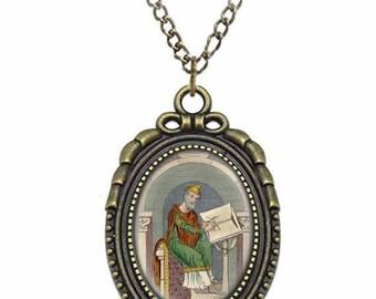 St Wulfstan Catholic Necklace Bronze Medal w Chain Oval Pendant Saint Vintage