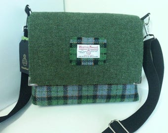 Green Harris Tweed Satchel / Messenger Bag