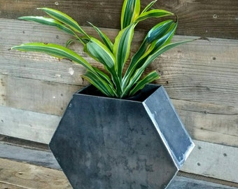 Industrial Steel Flower Pot hexagon