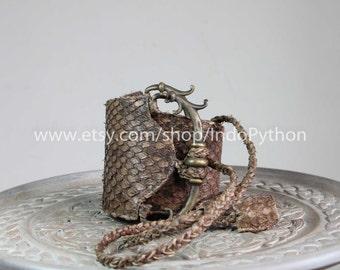 Python Belt Genuine Leather Exotic Snakeskin Brown