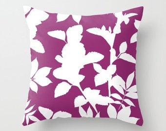 Violet Pillow Cover - Purple Decor - Leaves Pillow Cover - Modern Home Decor - includes insert