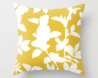 Yellow Pillow  - Yellow Decor - Leaves Pillow  - Modern Home Decor - By Aldari Home
