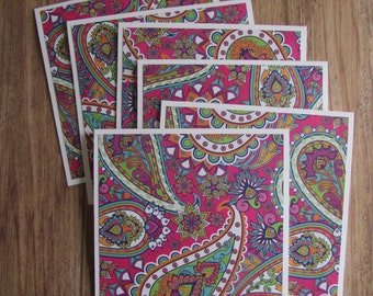 6 Floral Note cards-square all occasion blank cards,whimsical stationery sets,fun floral card sets,gift set ideas,handmade/homemade cards