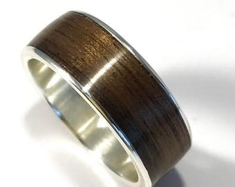 Mens wedding band, wood ring, wooden wedding band, wooden ring, walnut wedding ring, walnut band, wood and metal ring, walnut andsilver band