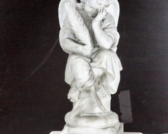 Gorgeous Marble Statue White Angel Sitting Heavy Romantic