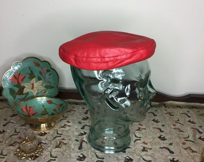 Vintage Estate Red Leather Hutzlers Baltimore Pillbox Hat