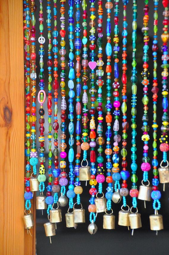 beaded curtain bead curtain bohemian curtain window. Black Bedroom Furniture Sets. Home Design Ideas